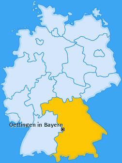 Karte von Oettingen in Bayern
