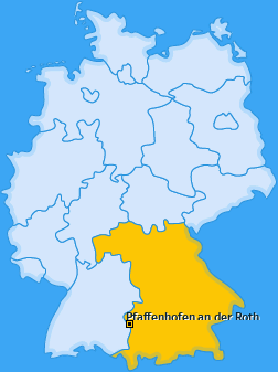 Karte von Pfaffenhofen an der Roth