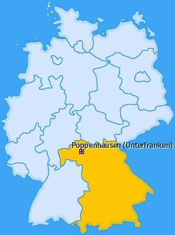 Karte von Poppenhausen (Unterfranken)