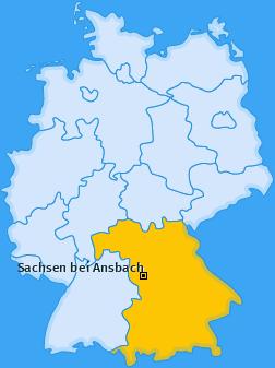 Karte von Sachsen bei Ansbach