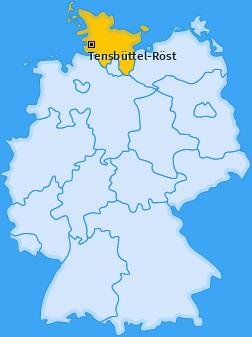Karte von Tensbüttel-Röst