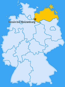 Karte von Tessin bei Boizenburg