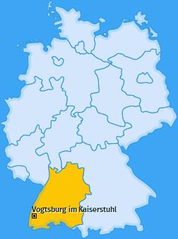 Karte von Vogtsburg im Kaiserstuhl