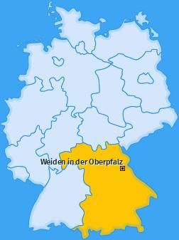 Karte von Weiden in der Oberpfalz