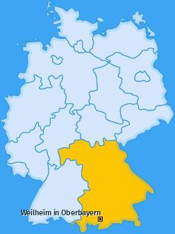 Karte von Weilheim in Oberbayern