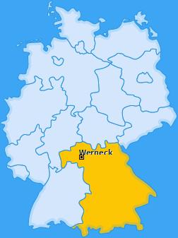 Karte Mühlhausen bei Schweinfurt Werneck