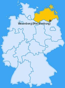 Karte von Wesenberg (Mecklenburg)