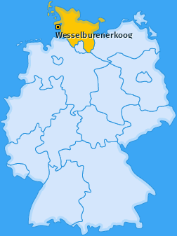 Karte von Wesselburenerkoog
