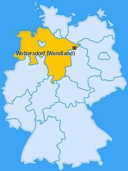 Karte von Woltersdorf (Wendland)