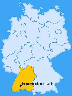 Karte von Zimmern ob Rottweil