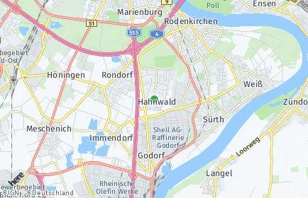 Stadtplan Köln OT Hahnwald