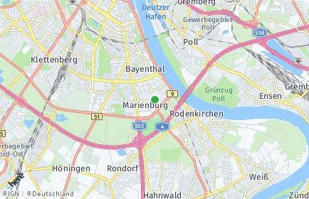 Stadtplan Köln OT Marienburg