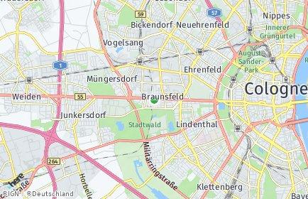 Stadtplan Köln OT Braunsfeld