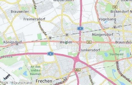 Stadtplan Köln OT Weiden