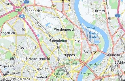 Stadtplan Köln OT Mauenheim