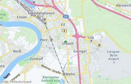 Stadtplan Köln OT Urbach
