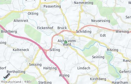 Stadtplan Aicha vorm Wald