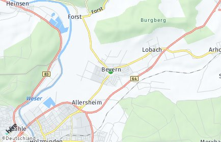 Stadtplan Bevern (Kreis Holzminden)