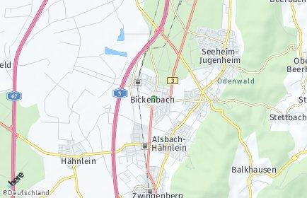 Stadtplan Bickenbach (Bergstraße)