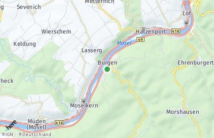 Stadtplan Burgen (Mosel)