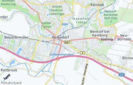Stadtplan Hamburg-Bergedorf OT Ochsenwerder