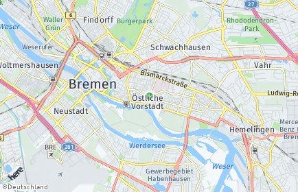 Stadtplan Bremen-Östliche Vorstadt OT Peterswerder
