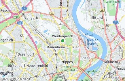 Stadtplan Köln OT Weidenpesch