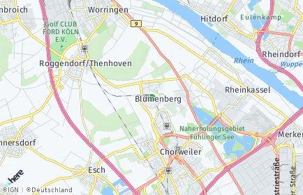 Stadtplan Köln OT Blumenberg