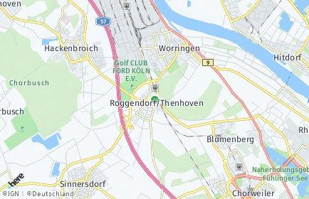 Stadtplan Köln OT Roggendorf/Thenhoven