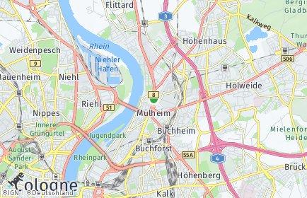 Stadtplan Köln OT Mülheim