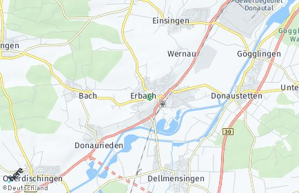Stadtplan Erbach (Donau)