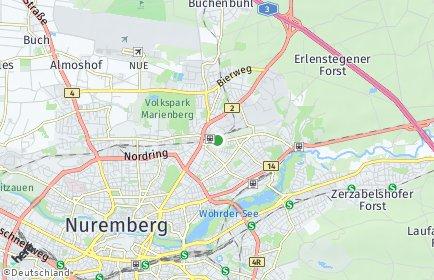 Stadtplan Nürnberg OT Nordostbahnhof
