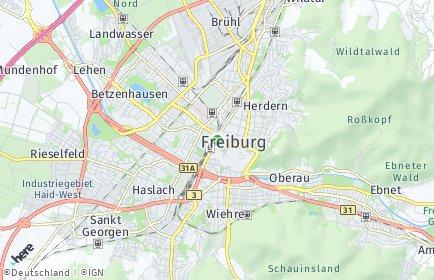Stadtplan Freiburg im Breisgau OT Herdern