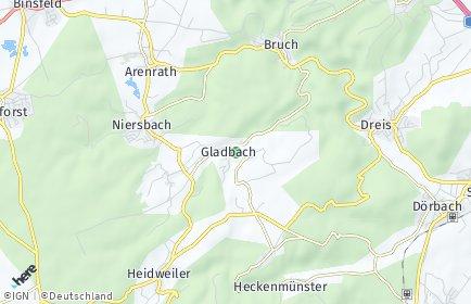 Stadtplan Gladbach (Eifel)