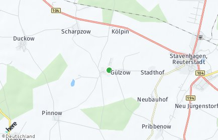 Stadtplan Gülzow bei Stavenhagen