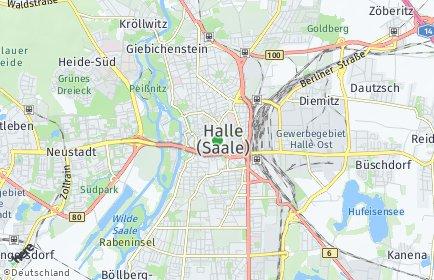 Stadtplan Halle (Saale) OT Gebiet der DR