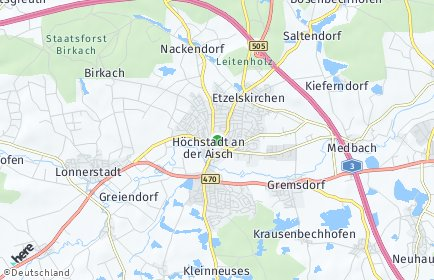 Stadtplan Höchstadt an der Aisch