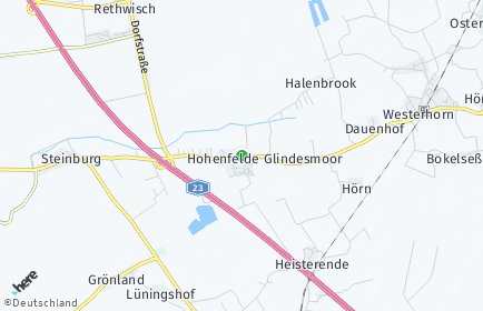 Stadtplan Hohenfelde (Steinburg) OT Hörn bei Elmshorn