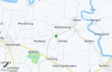 Stadtplan Hollingstedt bei Delve