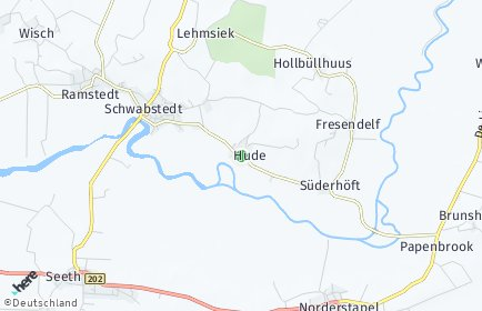 Stadtplan Hude (Nordfriesland)