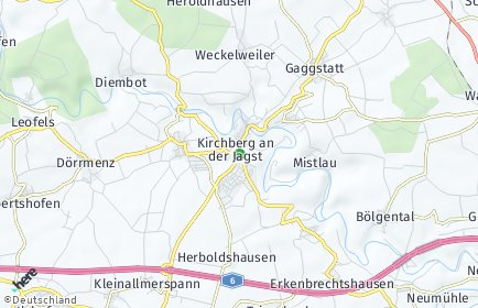 Stadtplan Kirchberg an der Jagst OT Mistlau