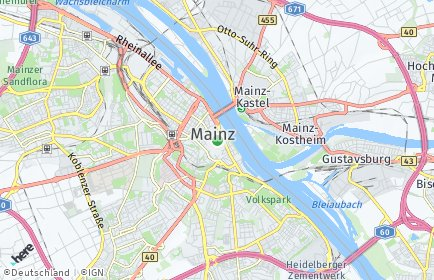 Stadtplan Mainz OT Hartenberg-Münchfeld