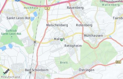 Stadtplan Malsch bei Wiesloch