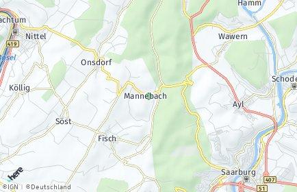 Stadtplan Mannebach bei Saarburg