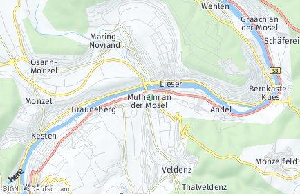 Stadtplan Mülheim (Mosel)