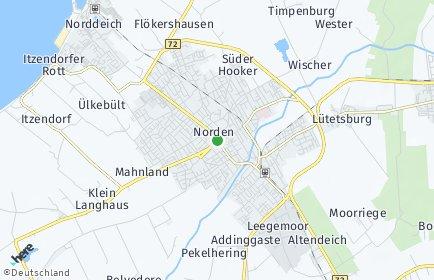 Stadtplan Norden OT Wurzeldeich