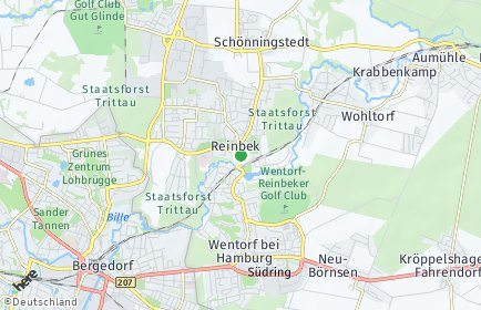 Stadtplan Reinbek OT Bismarckquelle