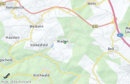 rieden eifel karte PLZ Rieden (Eifel) mit Karte   Postleitzahlen 56745 Rheinland Pfalz