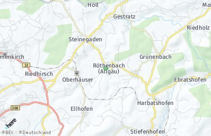 Stadtplan Röthenbach (Allgäu) OT Giesenberg