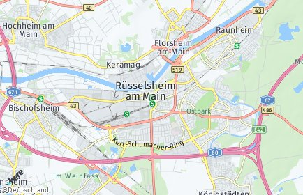Stadtplan Rüsselsheim am Main